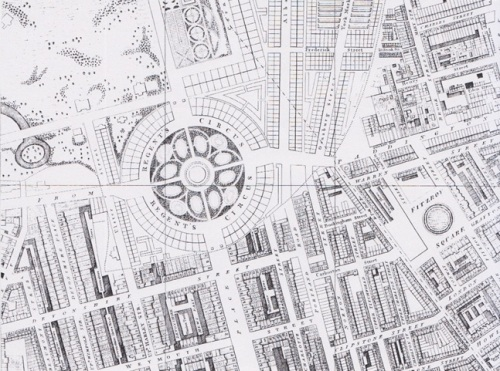 Map extract from Richard Horwood's The A to Z of Regency London