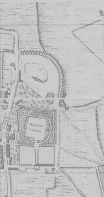Map extract from John Rocque's 1741 plan of the Cities of London and Westminster.