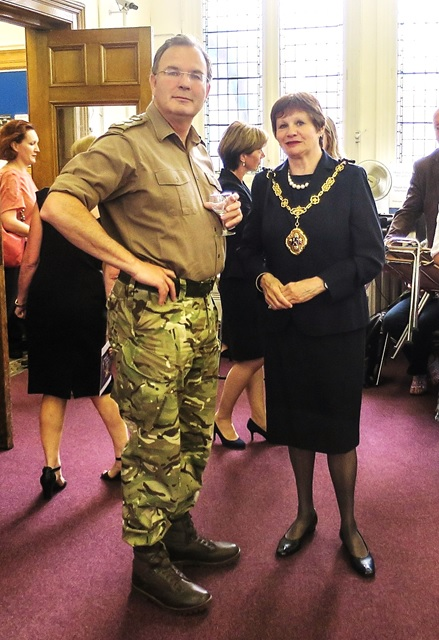 Colonel Hugh Bodington (Wellington Barracks) with Westminster's Lord Mayor Locum Tenens Councillor Judith Warner