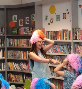 Diddidance: Kerry doing a dance with children at Charing Cross library
