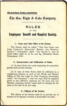 Gas Light and Coke Company - Employees' Benefit and Hospital Society 1937. Image property of Westminster City Archives