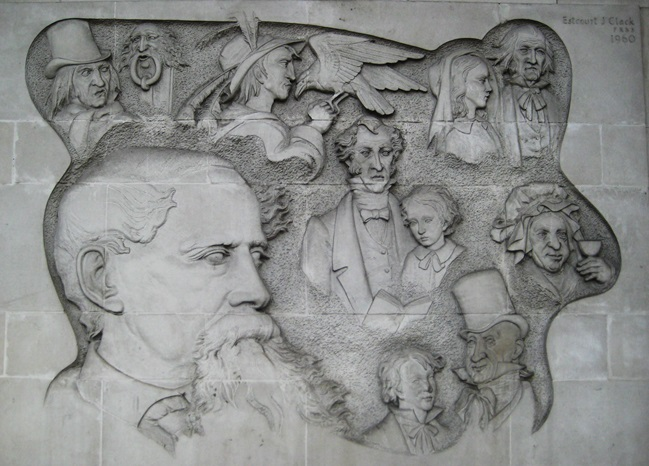 Ferguson House plaque featuring Dickens characters