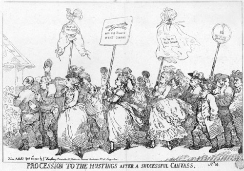 """Procession to the Hustings After a Successful Canvass"" by Thomas Rowlandson, 1784. Image property of Westminster City Archives"