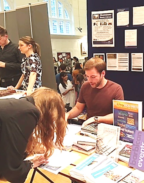 Sharing a table with Barbican Music Library at the Royal College of Music - signing up a new recruit for Westminster, September 2015