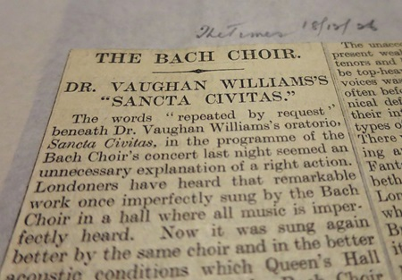 Sample from Westminster Music Library's newspaper cuttings collection
