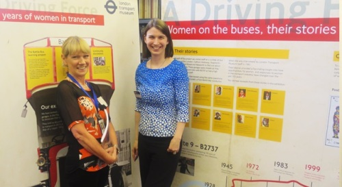 Ruth With Kathryn Palmer-Skillings - Battle Bus Learning Officer, at A Driving Force: 100 Years of Women in Transport exhibition. Westminster Music Library, October 2015