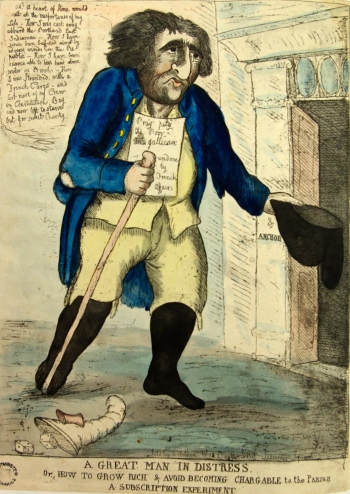 A Great Man in Distress, or how to grow rich... by William Dent, 1793. Image property of Westminster City Archives.