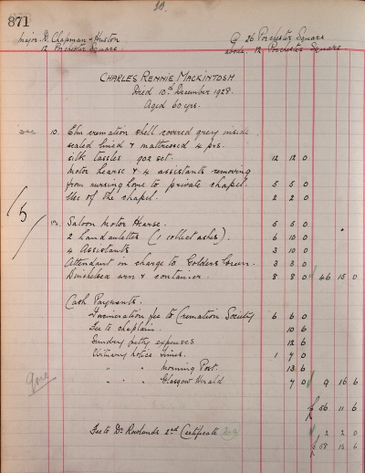Charles Rennie Mackintosh's funeral bill with Tookey & Sons of Marylebone High Street, 10 Dec 1928