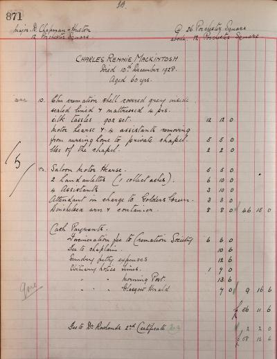 Charles Rennie Mackintosh's funeral bill with Tookey & Sons of Marylebone High Street, 10 Dec 1928