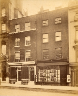 Photo of Fribourg and Treyer's shop at 34 Haymarket, 1898. Image property of Westminster City Archives