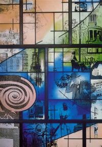 Stained glass celebrating Westminster's history and architecture (Jane Campbell 1995) at Westminster City Archives