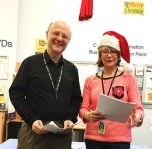 Laurence and Kate at the Paddington Library Christmas fun afternoon, December 2015