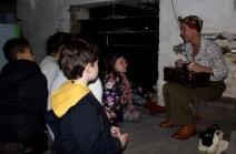Meeting 'Daisy Darton' in the library basement - Queen's Park Library sleepover, December 2015
