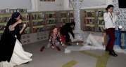 Snowball fight with 'Florrie Armstrong' - Queen's Park Library sleepover, December 2015