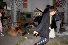 Snowball fight - Queen's Park Library sleepover, December 2015