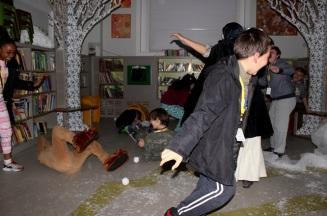 Snowball fight - Queen's Park Library sleepover, December 2015