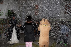 Snowing in the library! Queen's Park Library sleepover, December 2015