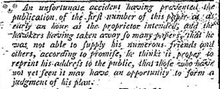 Snippet from The Daily Universal Register, 3 January 1785