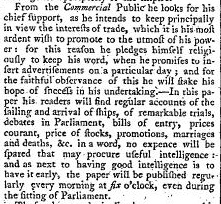 Snippet from The Daily Universal Register, 4 January 1785