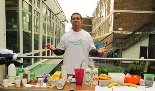 Osman ready to fuel the 'smoothie bike' at New Year New You, Church Street Library, January 2016