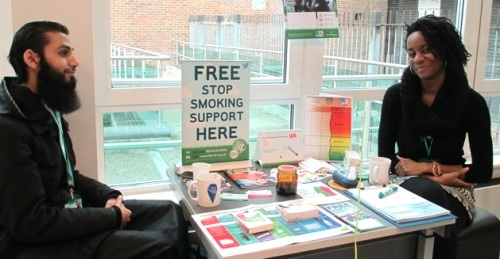 Cheryl from Kick It Stop Smoking service at New Year New You, Church Street Library, January 2016