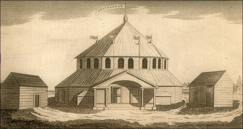 """Sketch of Stratford Jubilee Booth or Amphitheatre"", Gentleman's Magazine, 1769 p344. Image property of Westminster city Archives"