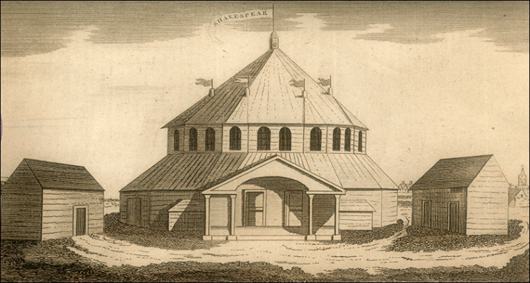"""""""Sketch of Stratford Jubilee Booth or Amphitheatre"""", Gentleman's Magazine, 1769 p344. Image property of Westminster city Archives"""