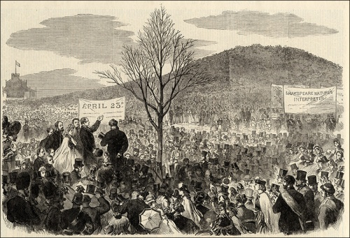Shakespeare commemorations, Primrose Hill, 1864. Image property of Westminster City Archives