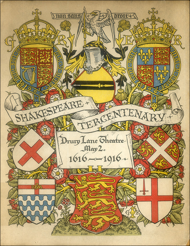 Shakespeare Tercentenary at Drury Lane, programme cover, 1916. Image property of Westminster City Archives