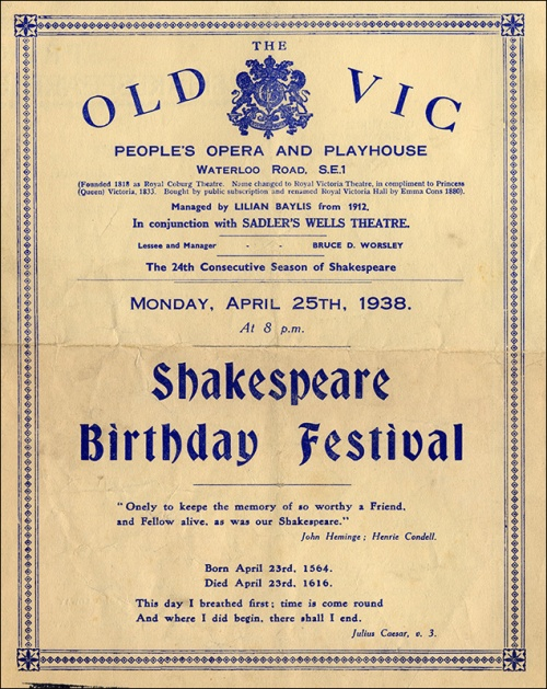 Shakespeare Birthday Festival at the Old Vic, programme cover, 1938. Image property of Westminster City Archives