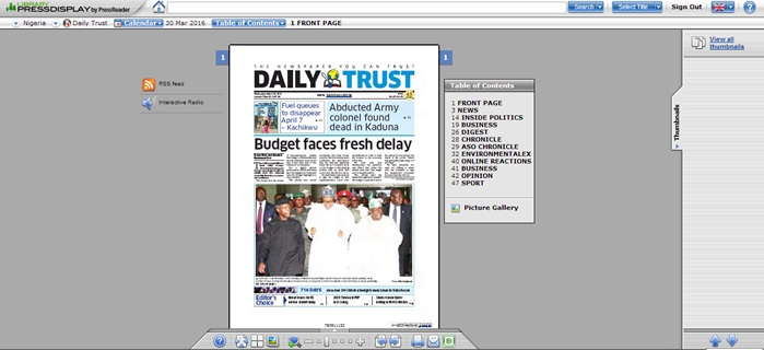 Screenshot of front page of 'Daily Trust' Nigerian newspaper on Library Press Display, 30 March 2016