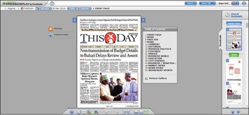 Screenshot of front page of 'This Day' Nigerian newspaper on Library Press Display, 30 March 2016