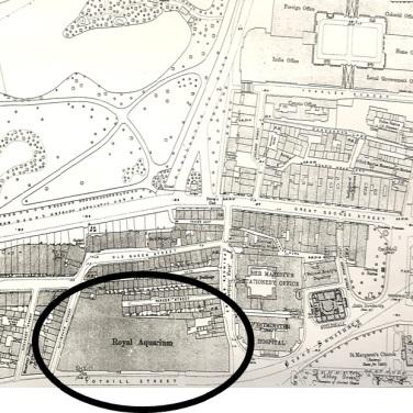 1893 ordnance survey map showing The Royal Aquarium