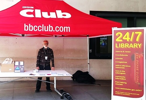 Francis getting the library stall set up outside BBC Broadcasting House