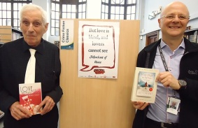Author Barrie Stacey and librarian Laurence Foe at Paddington Library for World Book Night, April 2016