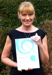 Ruth Walters with the Westminster Music Library IAML Excellence Award certificate 2016