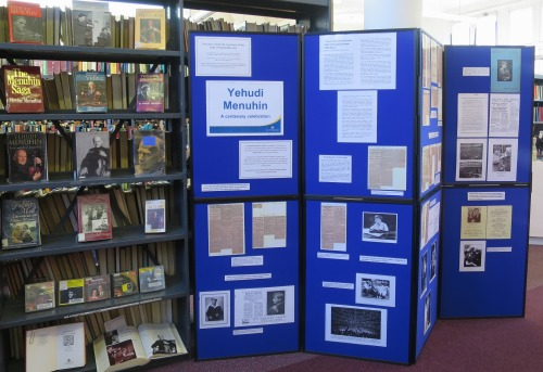 Yehudi Menuhin display at Westminster Music Library, April 2016