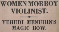 Yehudi Menuhin headline from the Daily Mail, 8 December 1930