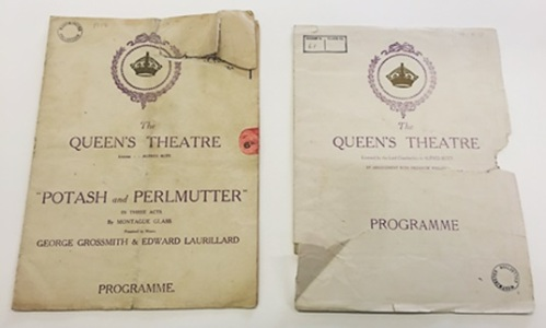 Potash and Perlmutter - Queen's Theatre programmes, 1914. Image property of Westminster City Archives.
