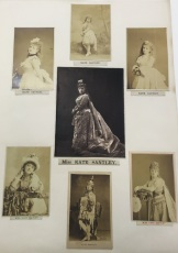 Theatre portraits of Kate Stanley circa 1880, featuring her various acting roles for the Alhambra. Image property of Westminster City Archives