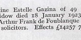 Obituary for Evangeline Estelle Gazina Kennedy (Kate Santley) in 1923