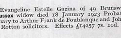 Obituary for Evangeline Estelle Gazina Kennedy (Kate Santley) in 1923