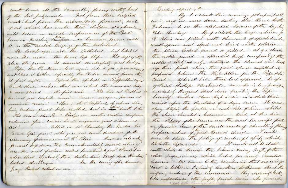 James Knowles diary, 8-9 April 1854. Image property of Westminster City Archives