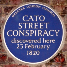 Blue plaque for the Cato Street conspiracy, 1820