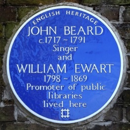William Ewart's blue plaque at Hampton Public Library