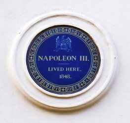 Napoleon III's blue plaque in Kings Street, St James