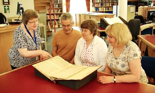 Jane, Mary and John - descendants of Nathaniel Bryceson, visiting the Archives Centre to view his diary with archivist Alison. May 2016