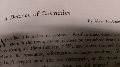 A defence of cosmetics by Max Beerbohm, in The Yellow Book