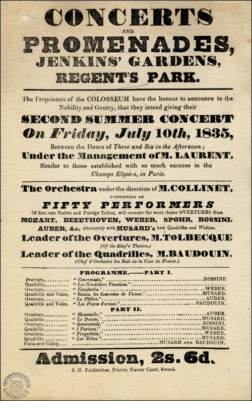 Colosseum playbill, 1835. Image property of Westminster City Archives.