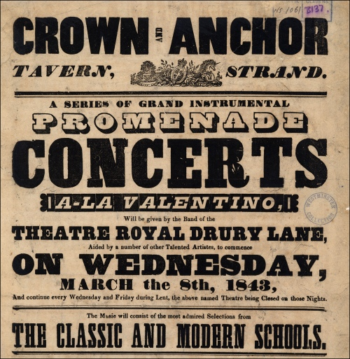 Crown and Anchor poster, 1843. Image property of Westminster City Archives.